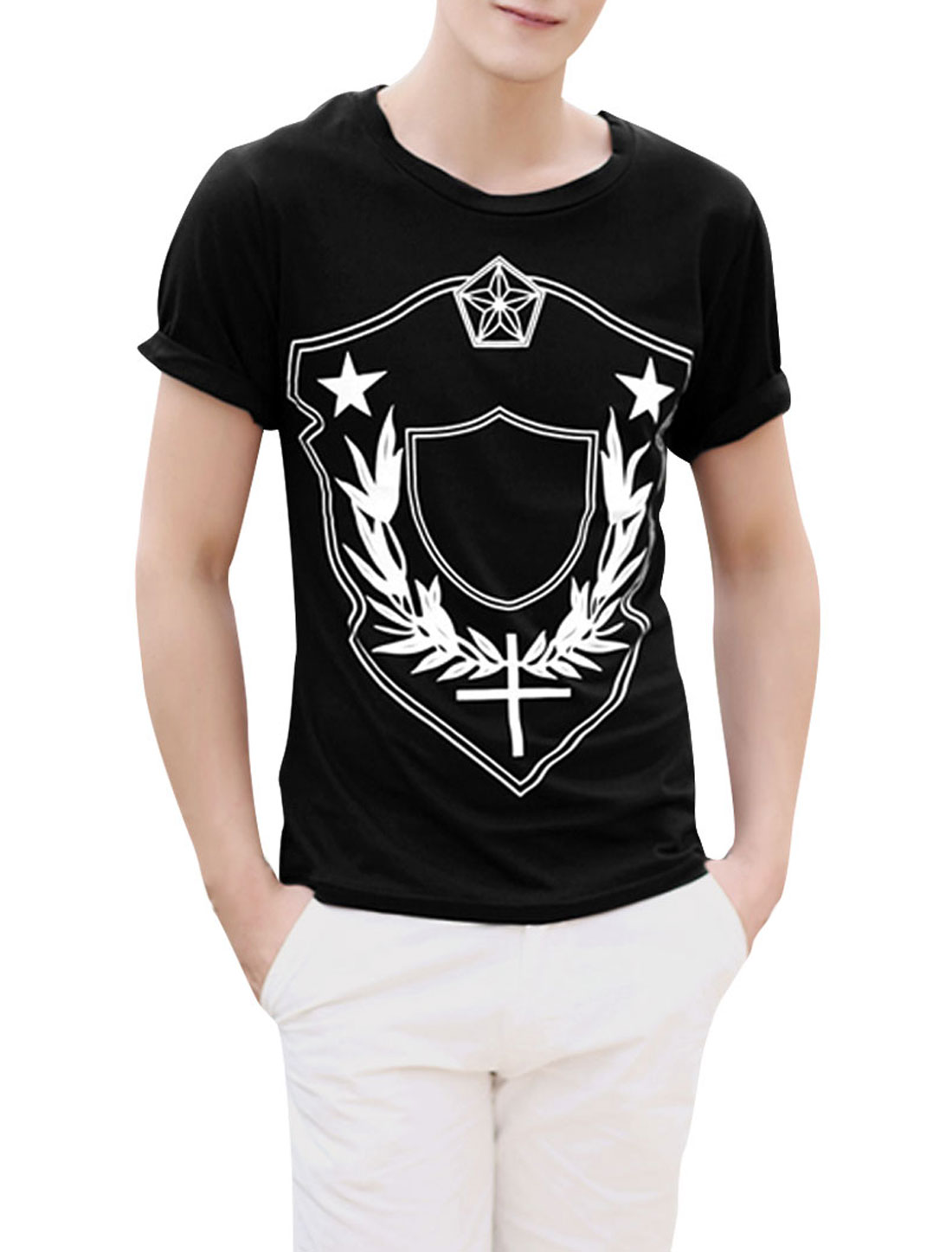 Men Pentagram Stylish Stretchy Short-sleeved Modern Shirt Black M