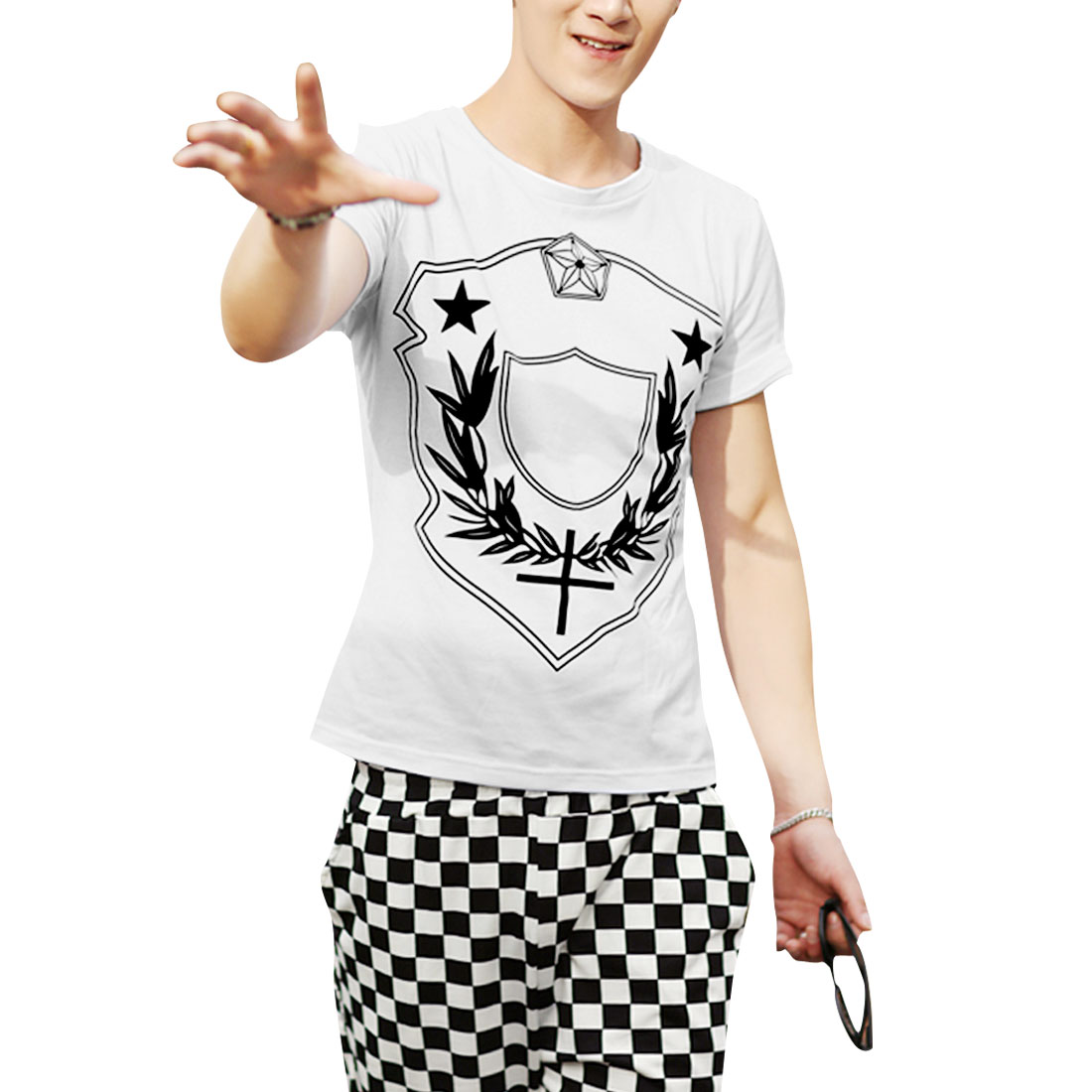 Men Personalized Stretchy Pentagram Korean Style Leisure Shirt White M