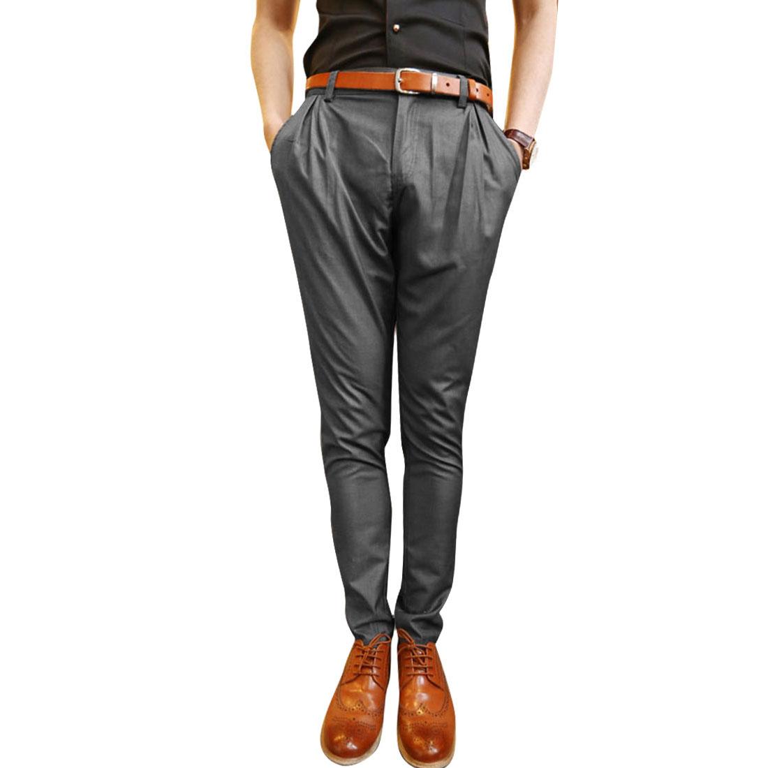 Men Front Button Closure Hidden Zipper Slant Pockets Pants Grey W32