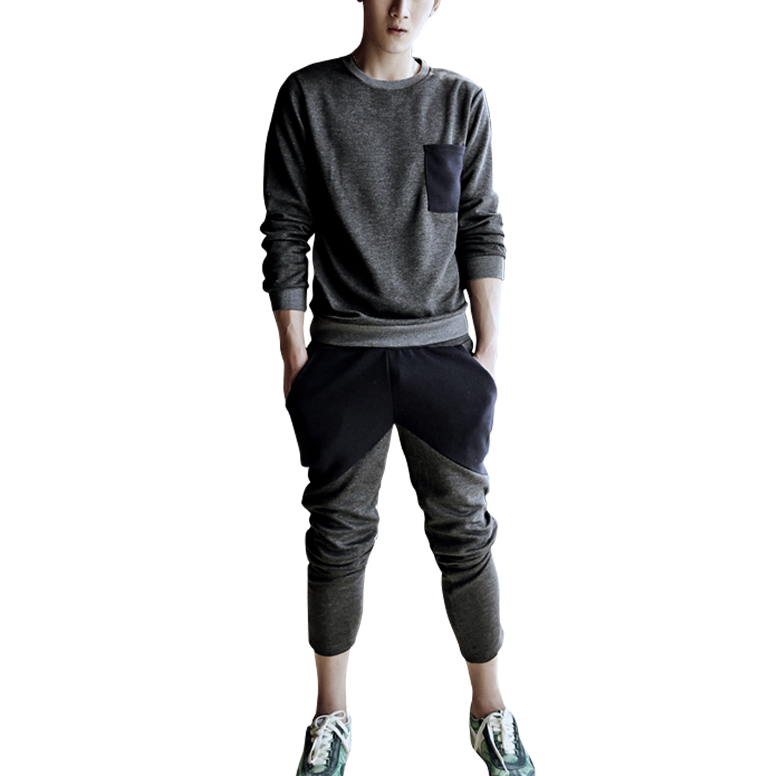 Men Round Neck Shirt & Elastic Waist Color Block Pants Dark Gray M