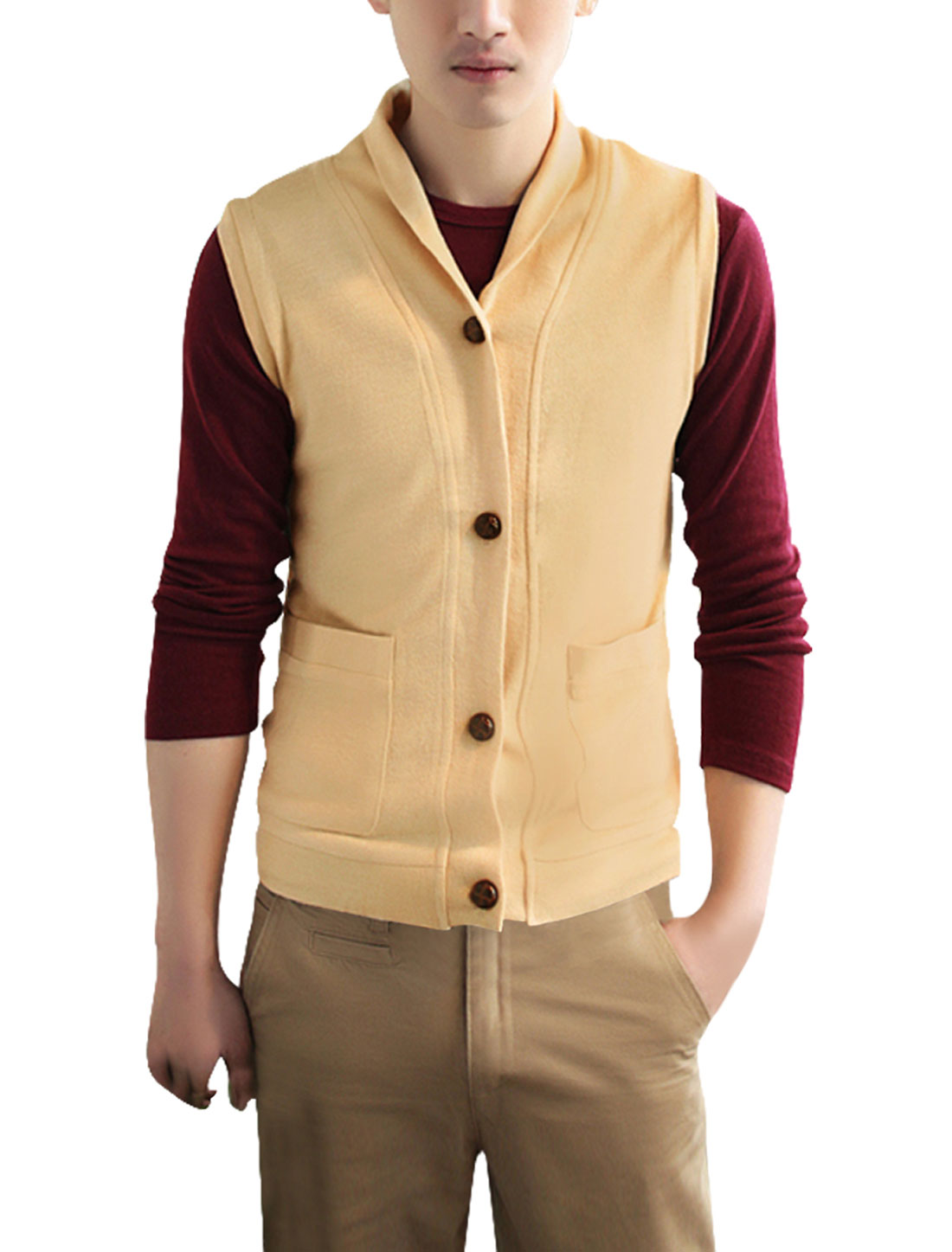 Men Chic Single Breasted Front Pockets Sweater Vest Beige S