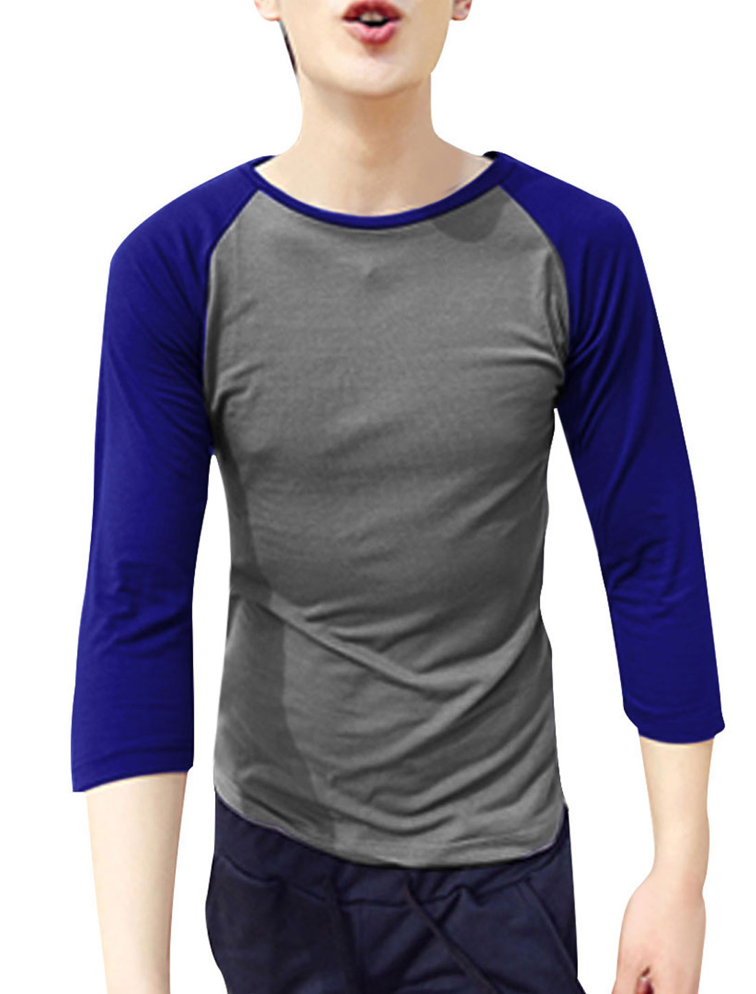 Man Round Neck Raglan Sleeve Color Contrast Chic Tops Shirt Gray M