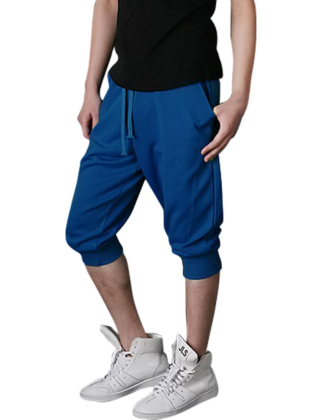 Men Drawstring Elastic Waist Stretchy Capris Pants Royal Blue W29