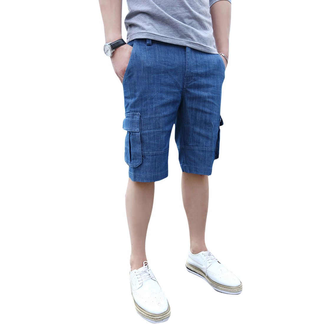 Men Casual Denim Belted Loop Hip Pockets Decor Stylish Shorts Blue W32