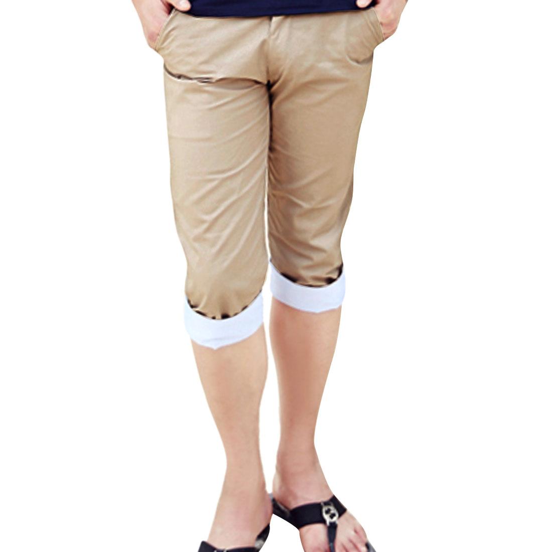 Men Zip Fly Front Buttoned Stripes Detail Casual Kahki Pants W31