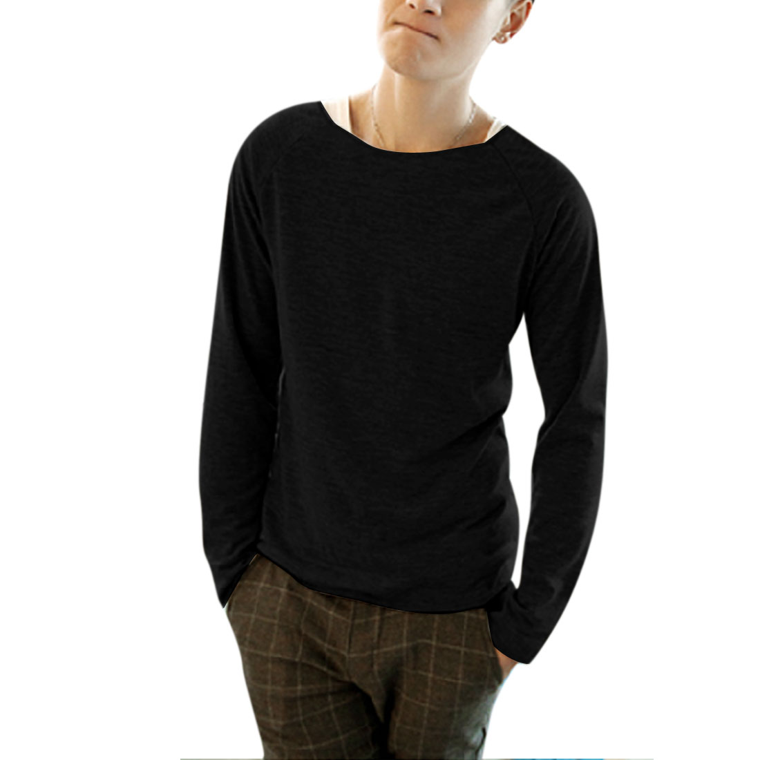 Men Stylish Soild Black Round Neck Pullover Loose Knit Wear M