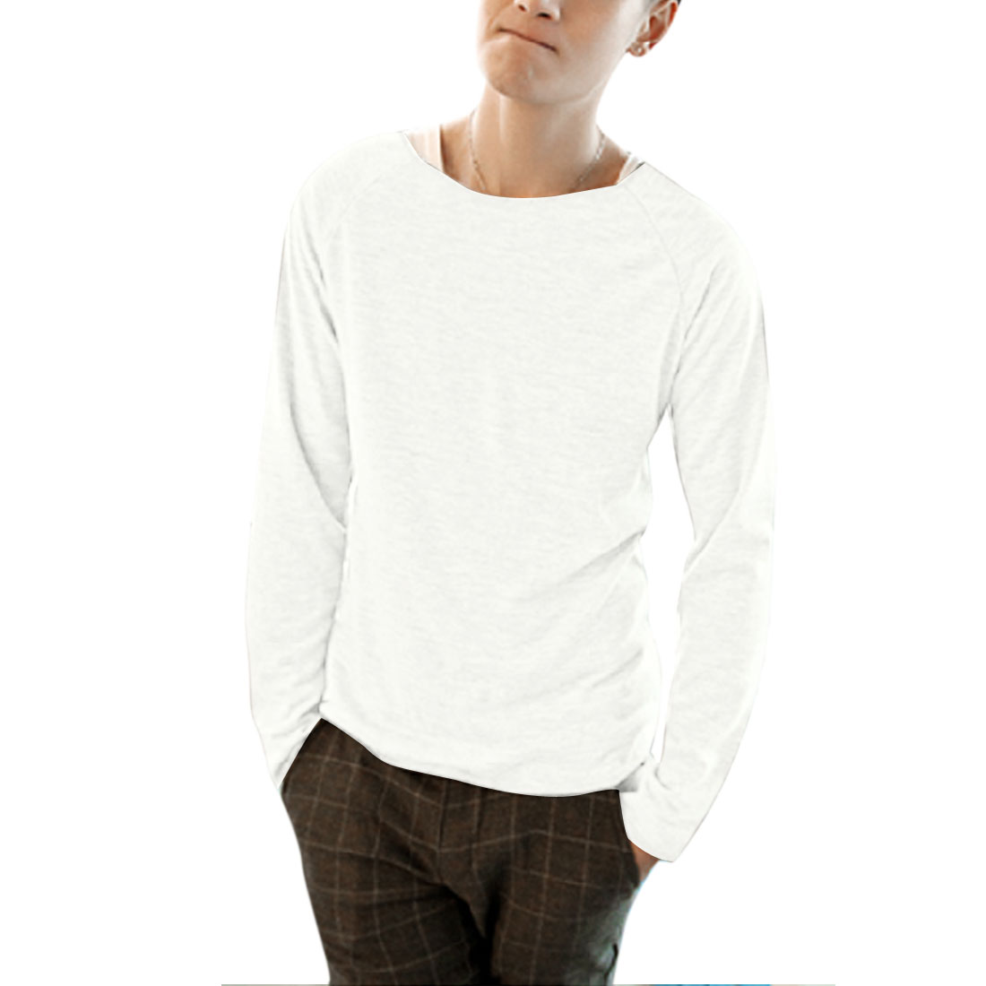 Men Pullover Raglan Sleeve Casual Pure White Knit Top M