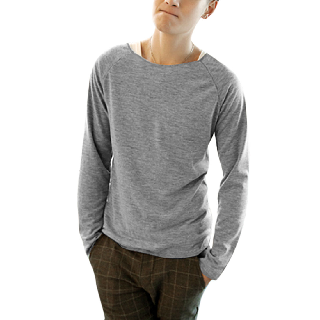 Men Leisure Heather Gray Round Neck Long Sleeve Knit Top M