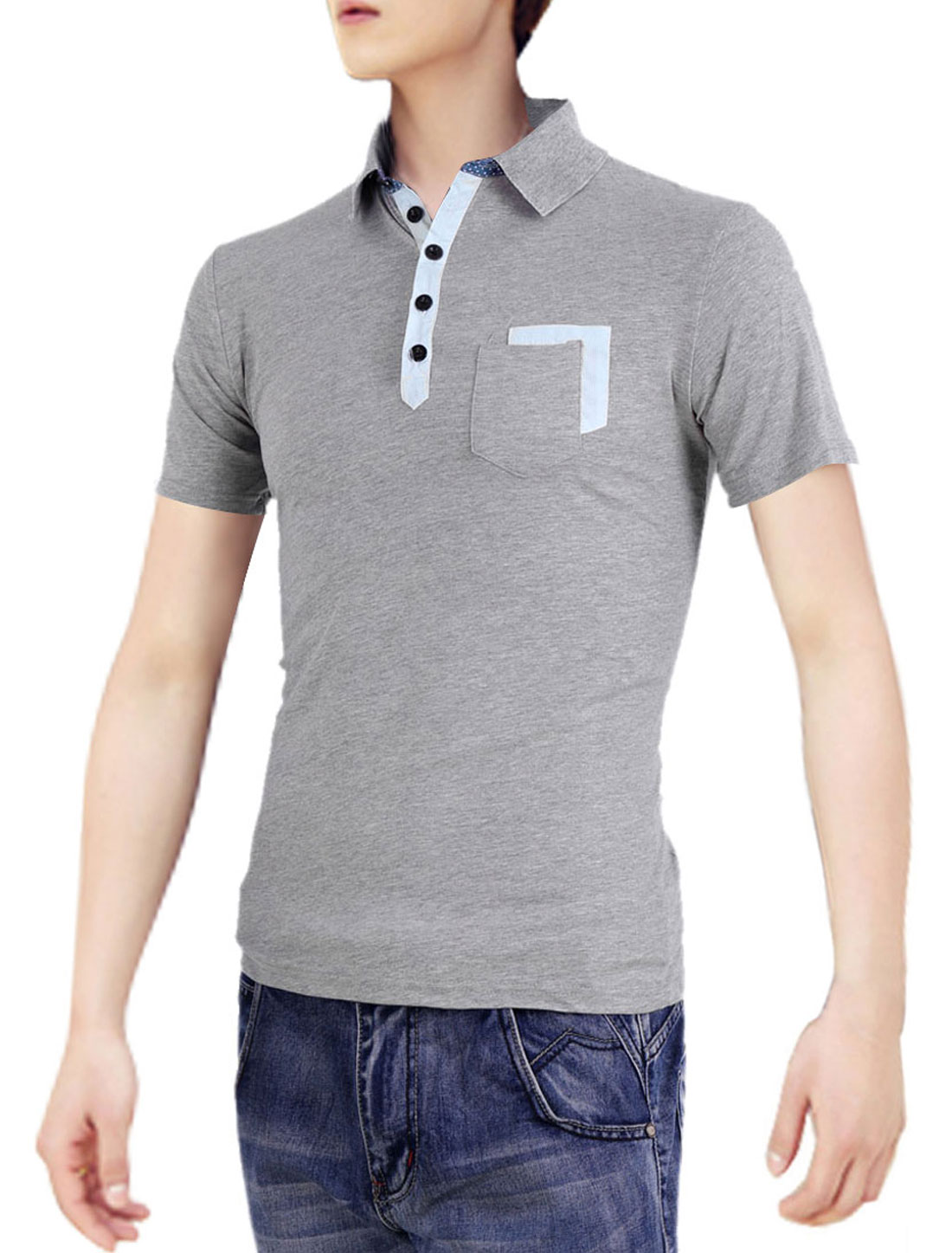 Light Grey S Men Breast Pocket Summer Fashion Pure Color Polo Shirt