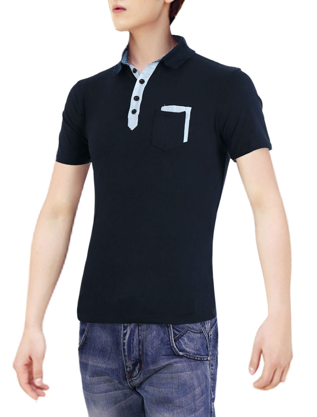 Navy Blue S Round Hem Chest Pocket Point Collar Summer Men Polo Shirt