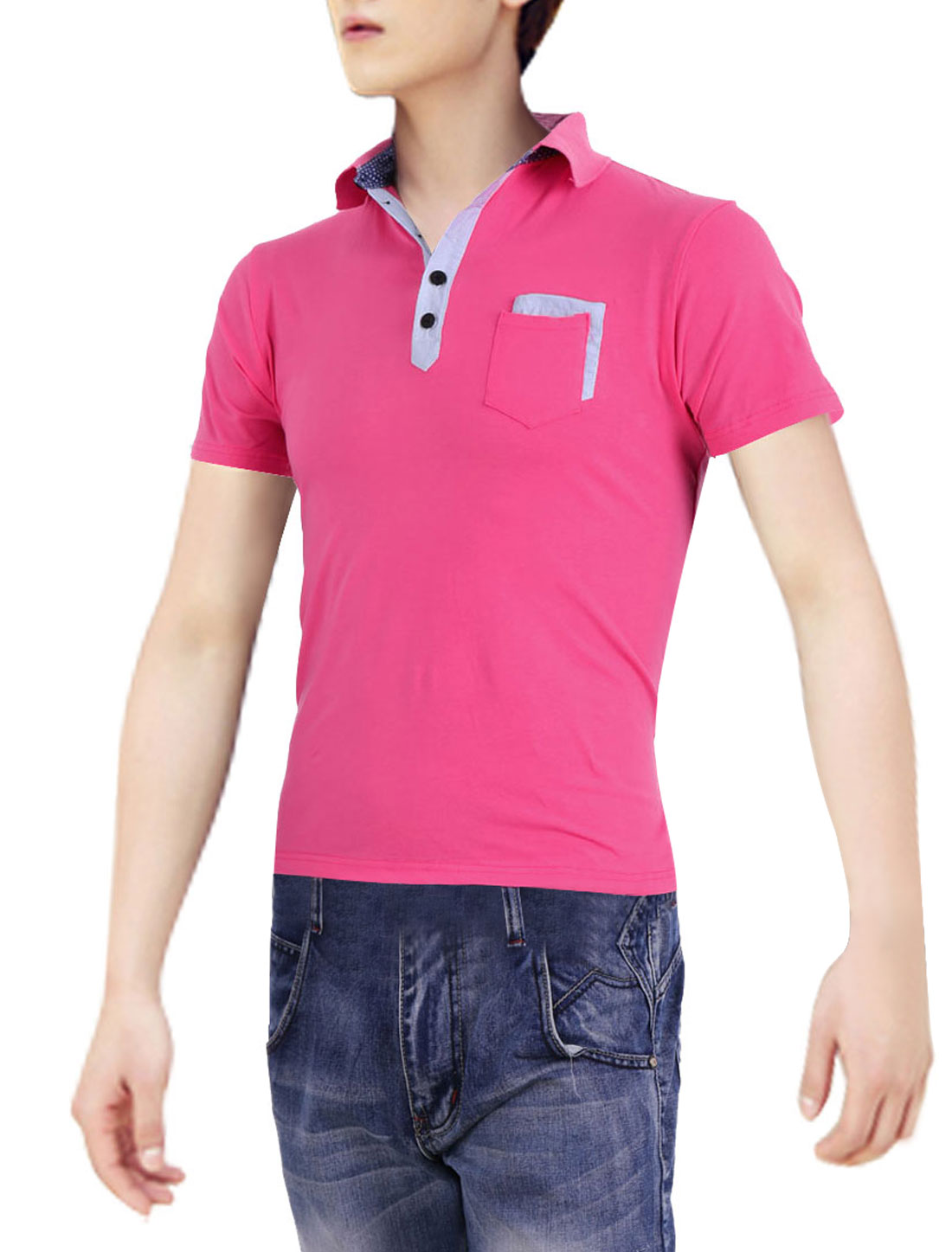 Men Point Collar Short Sleeve Chest Pocket Polo Shirt Deep Pink S