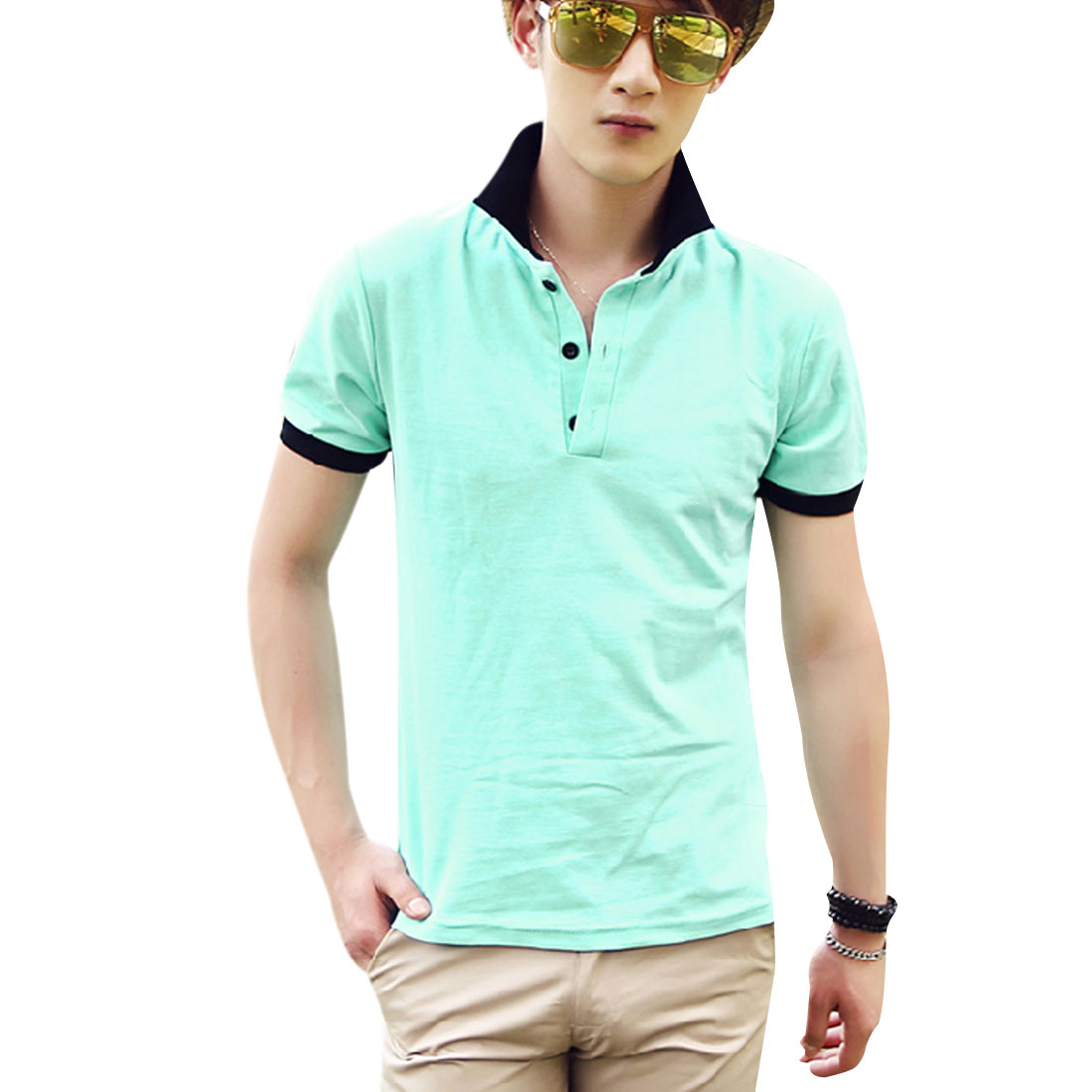 Men Convertible Collar Short Sleeve Stretchy Polo Shirt Mint M