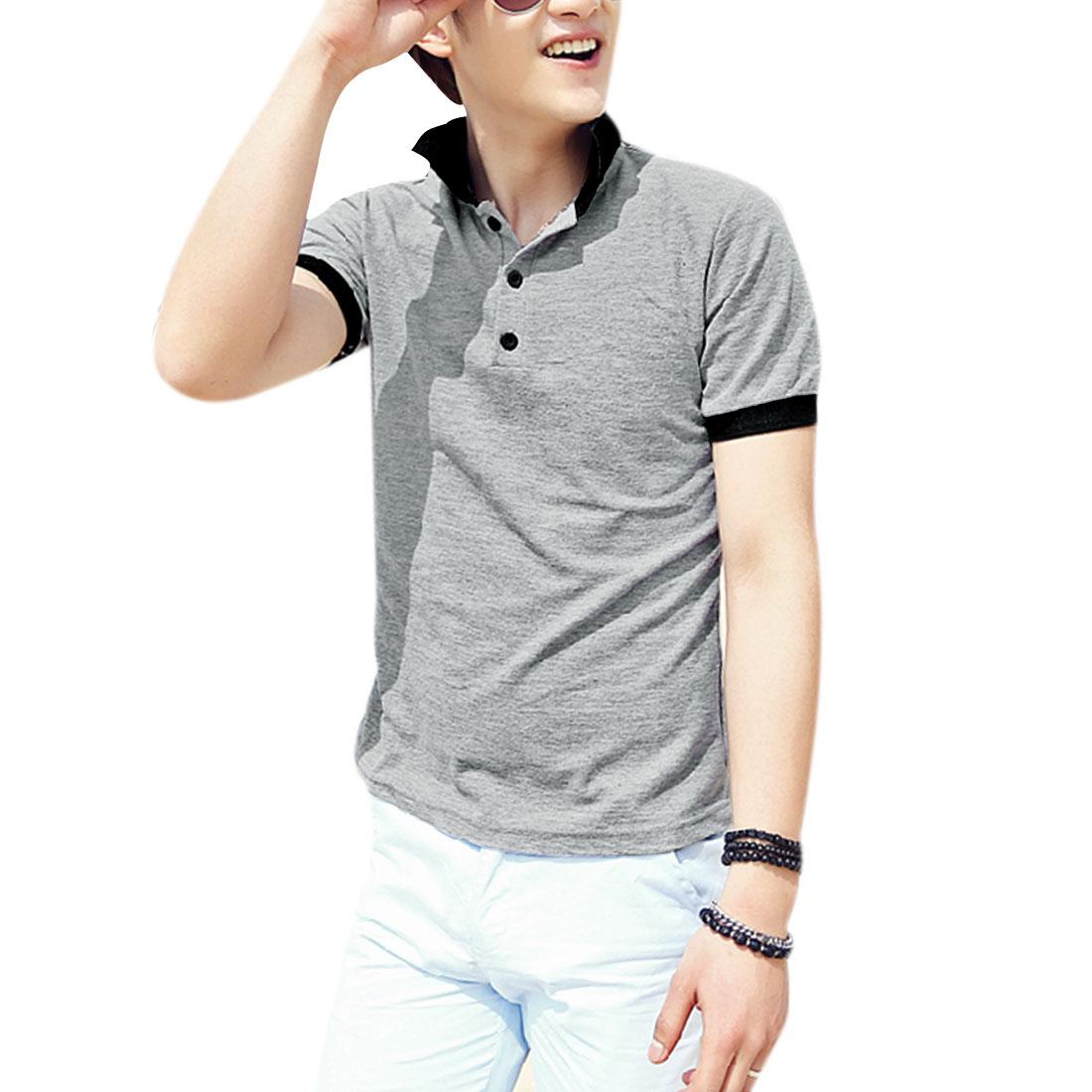 Men Pullover Short Sleeve Splice Casual Polo Shirt Light Gray M