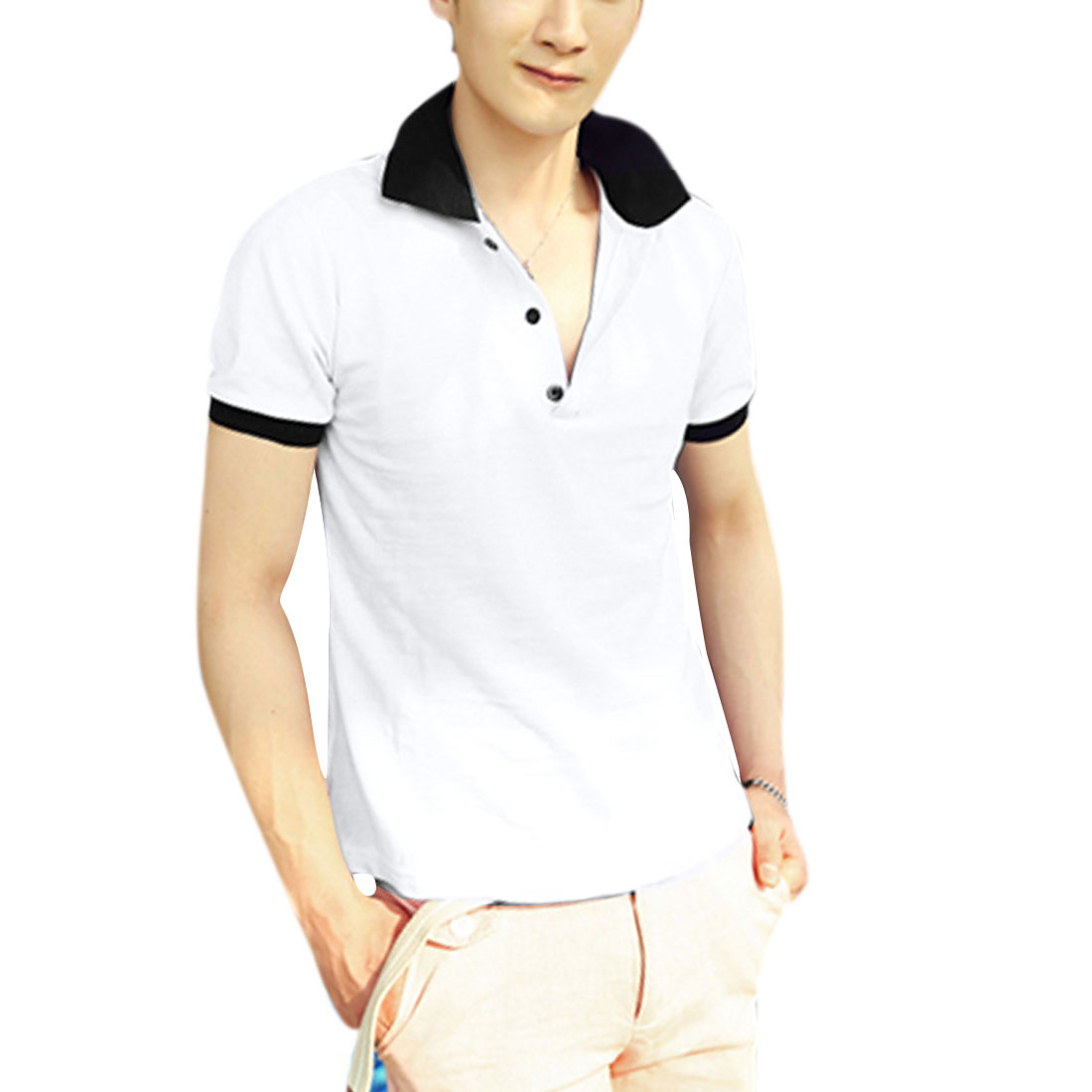 Men Convertible Collar Pullover Ribbing Cuffs Shirt White M