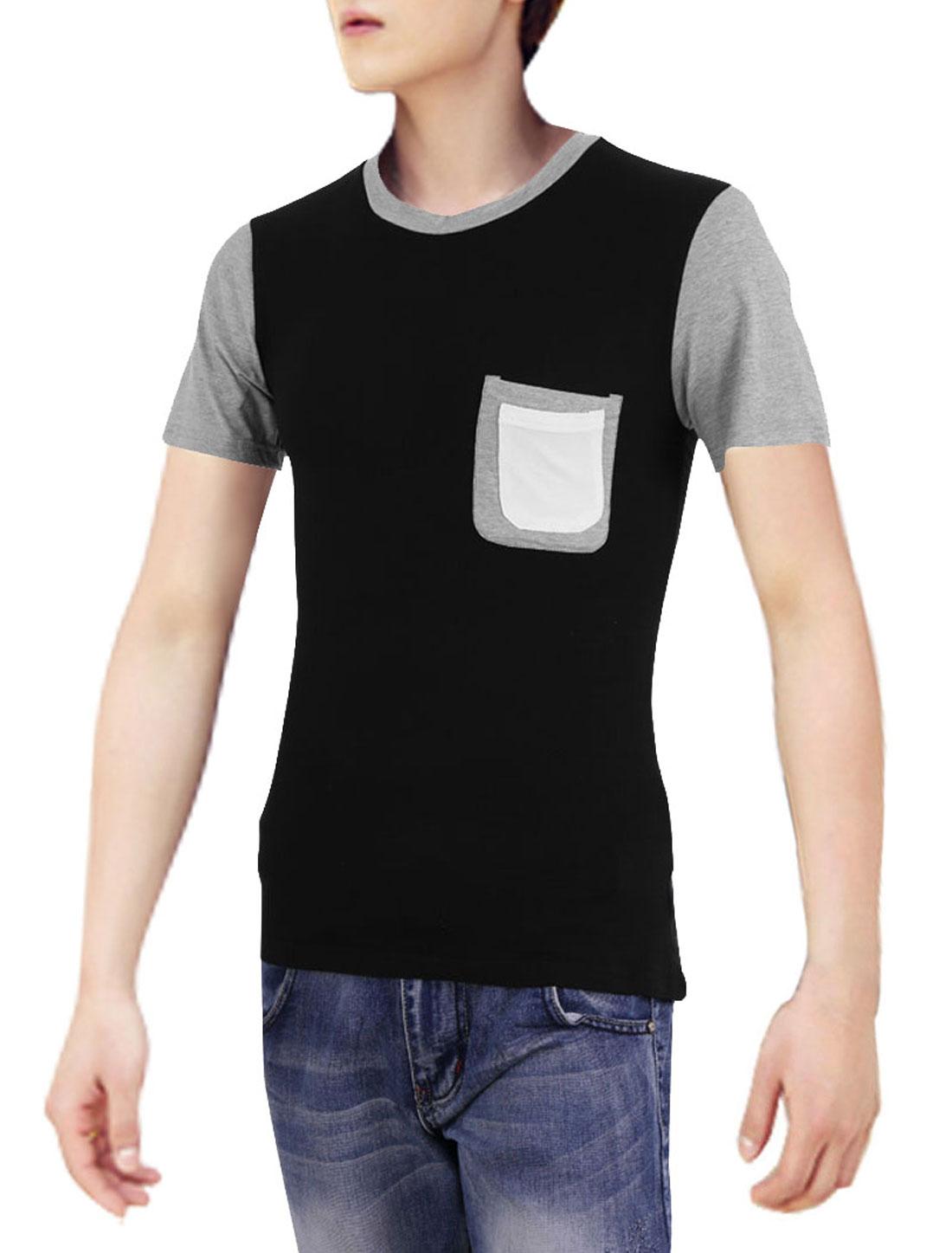 Men Spliced Stretchy Stylish Round Neck Leisure Modern Shirt Black S