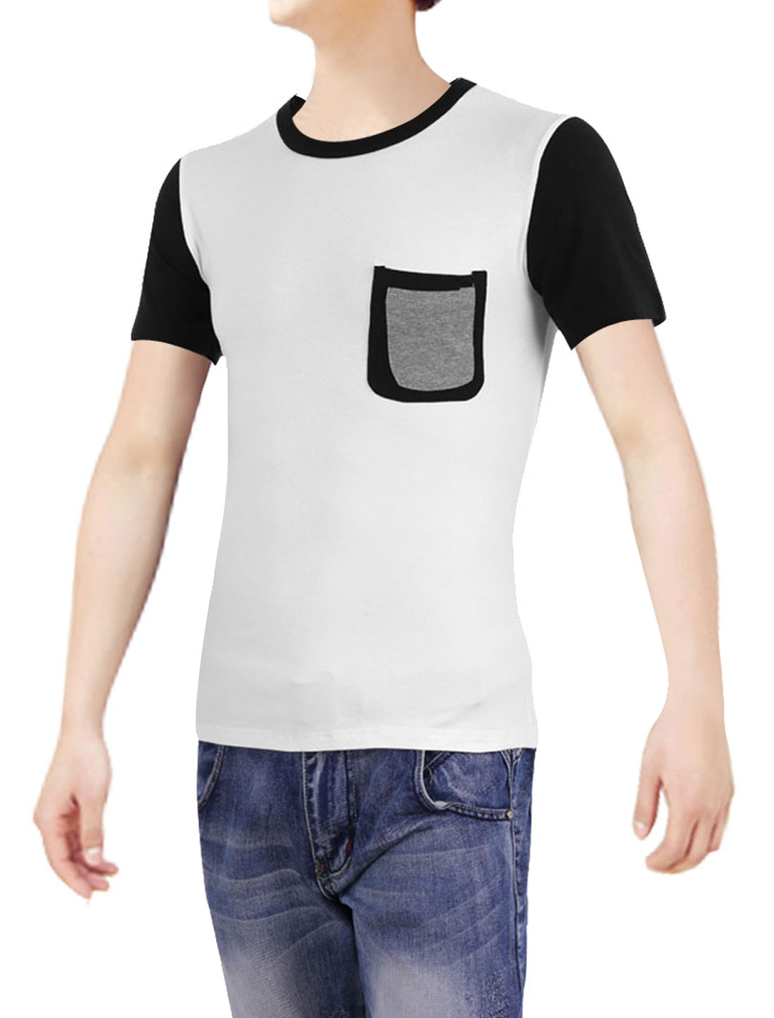 Men Short-sleeved Pockets Round Neck Korean Style Tops Shirt White S