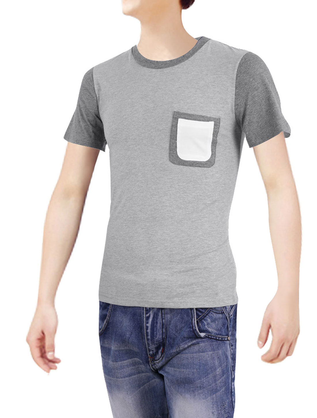 Men Short-sleeved Pockets Round Neck Korean Style Tops Shirt Light Gray S