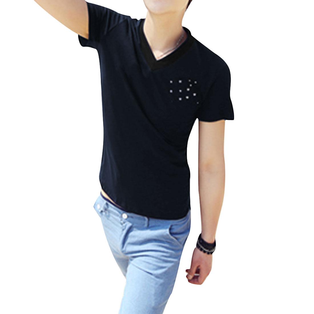 Men Short-sleeved V Neck Korean Style Leisure NEW Shirt Dark Blue M