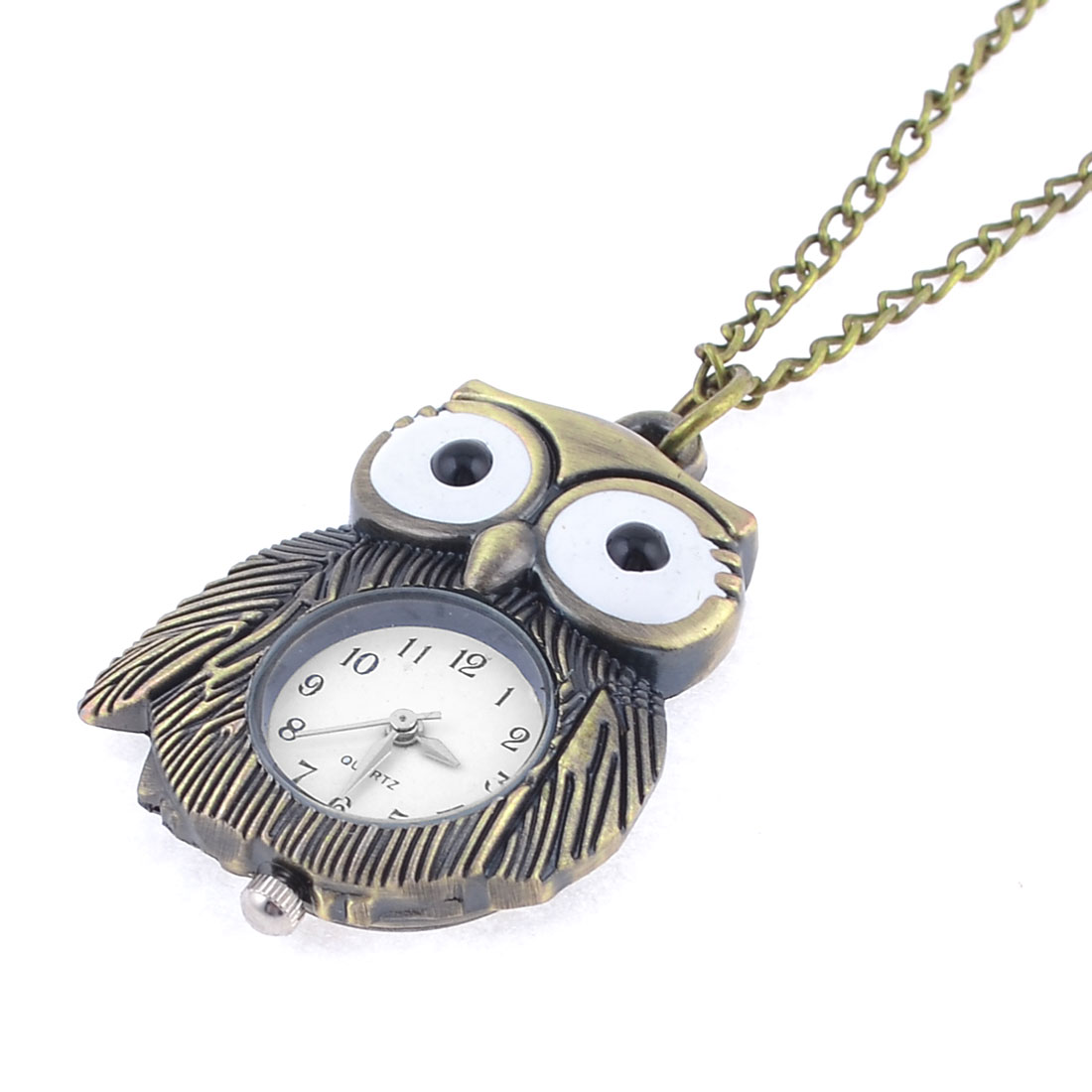 Arabic Number Display Dial Owl Design Case Pocket Watch Necklace Bronze Tone