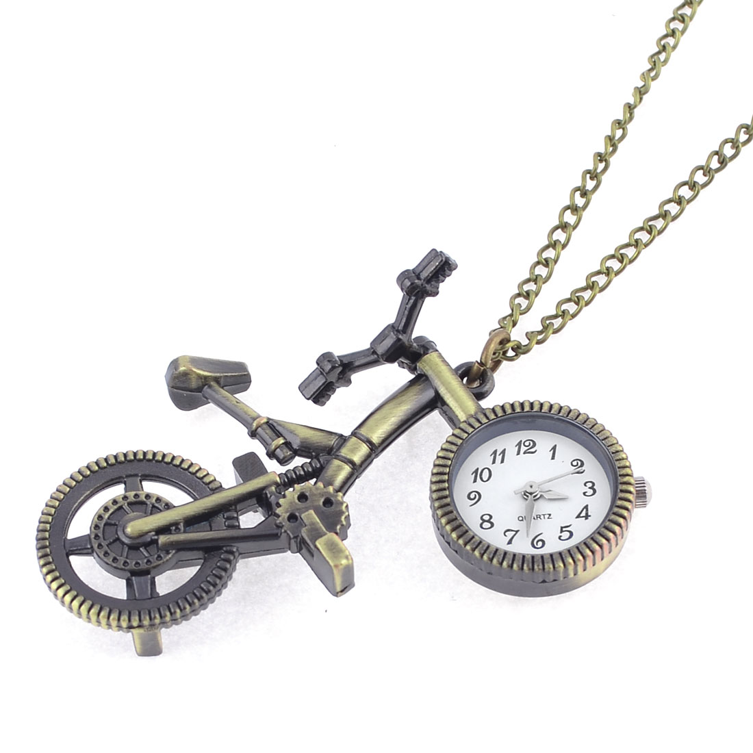 Numerical Markings Bronze Tone Bicycle Design Adjustable Chain Pocket Watch
