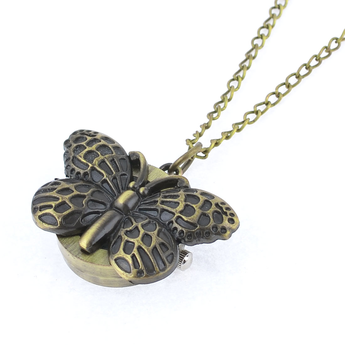 "15.7"" Long Chain Bronze Tone Butterfly Decor Round Case Pocket Watch"