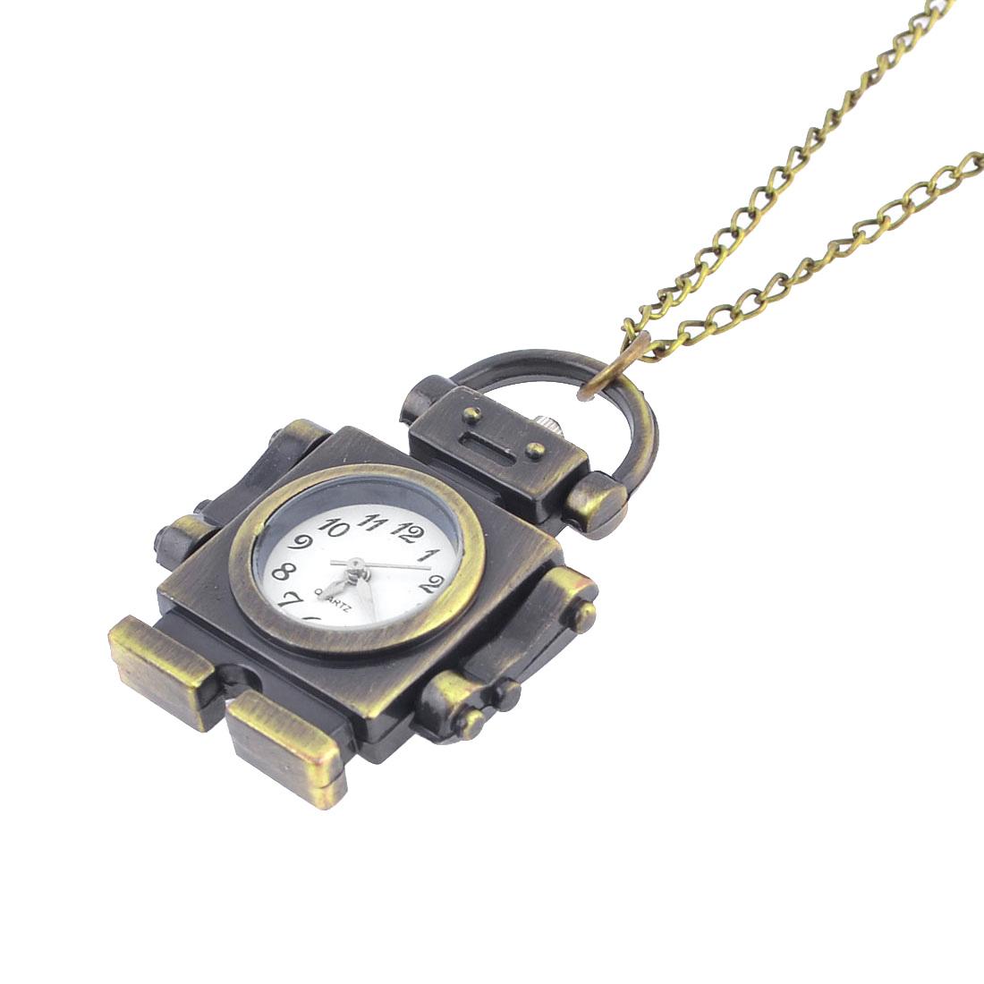 Metal Adjustable Strap Retro Style Robot Pendant Pocket Watch Bronze Tone