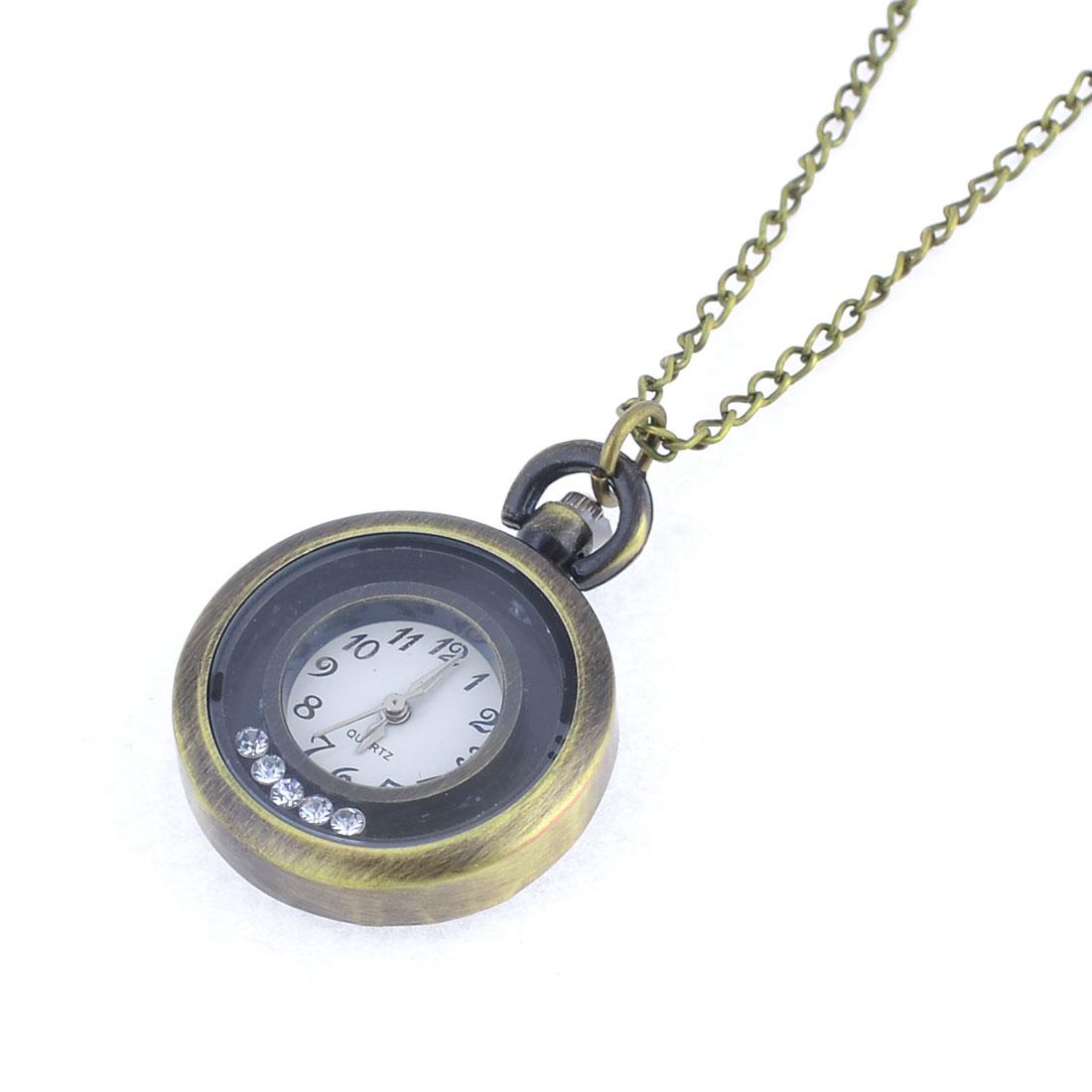 Five Glitter Rhinestones Decor Arabic Numbers Dial Metal Pocket Watch Brass Tone