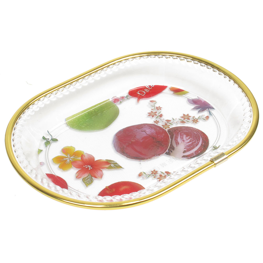 Floral Printed Fruit Vegetable Plate Container Tray Red Clear Gold Tone