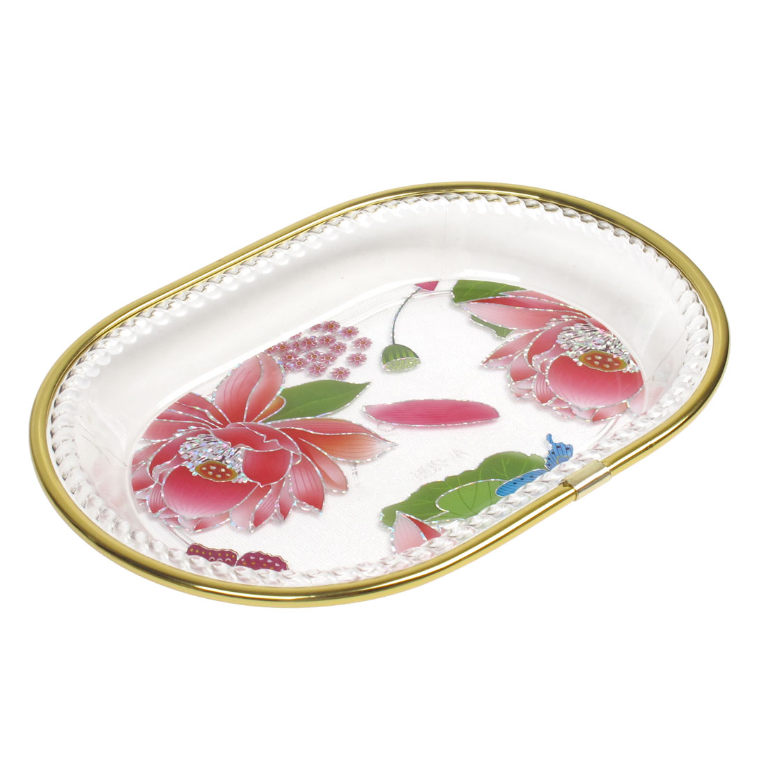 Kitchenware Oval Rectangular Design Fruit Holder Plate Bowl Red Clear Gold Tone