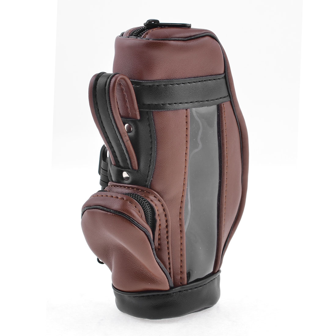 Plastic Zipped Faux Leather Golf Bag Organizer Case Dark Brown Black
