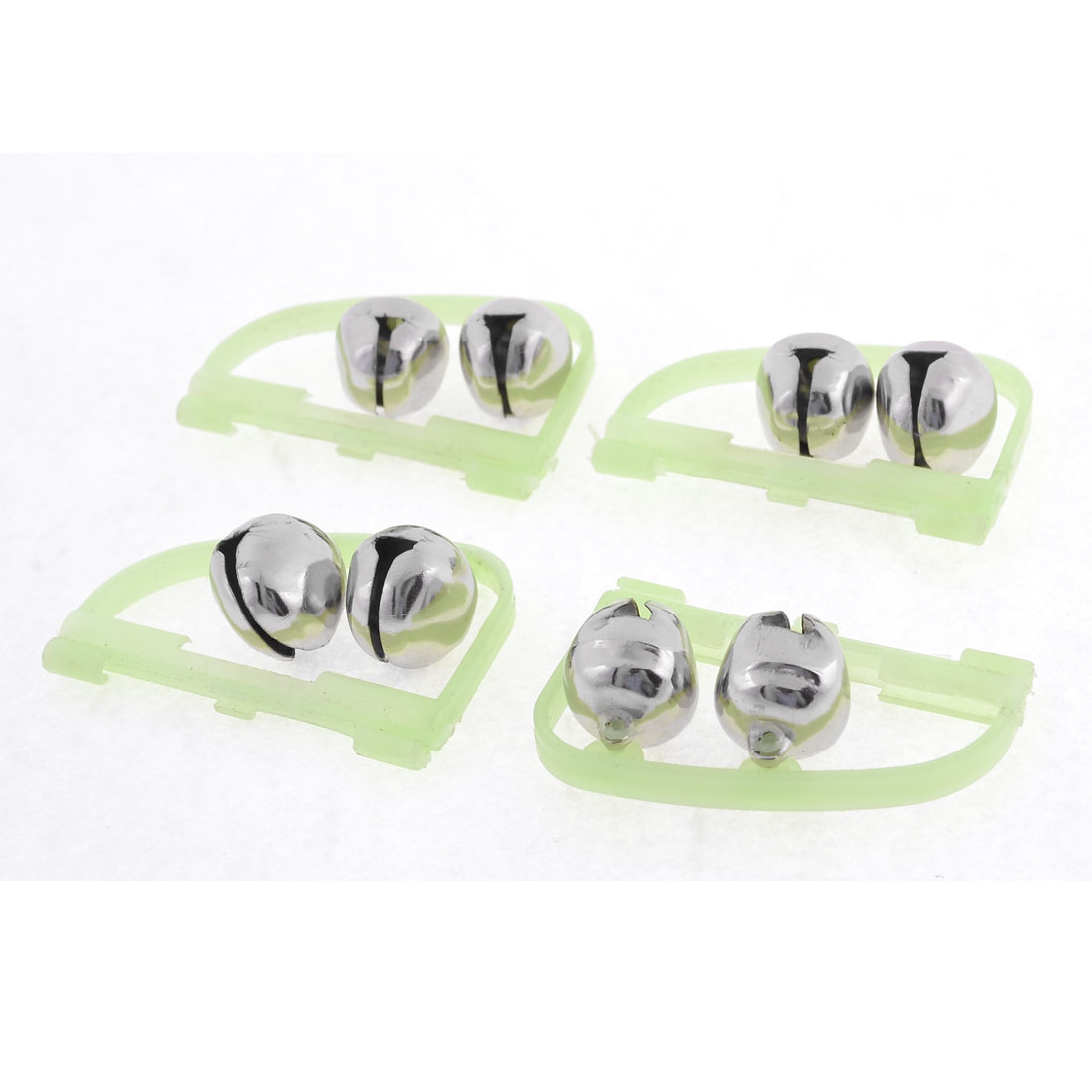 Plastic Ring Double Bells Fluorescent Fishing Alarm Tool Silver Tone Green 4 Pcs