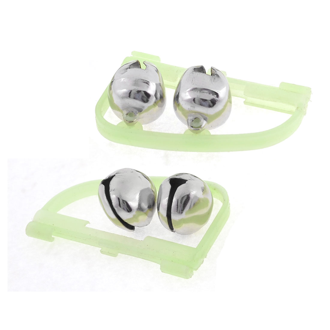 2 Pcs Fluorescent Fishing Pole Alarm Round Twin Alert Bells Silver Tone Green