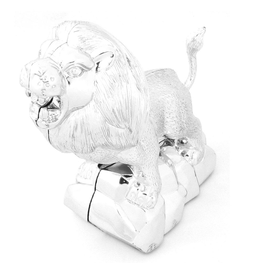Car Interior Silver Tone 3D Lion Design Sticker Decoration