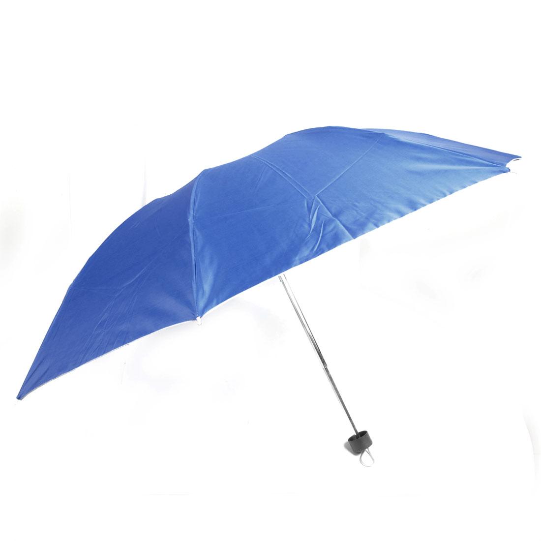 Portable Plastic Handle Metal 3 Sections Shaft Folding Umbrella Blue