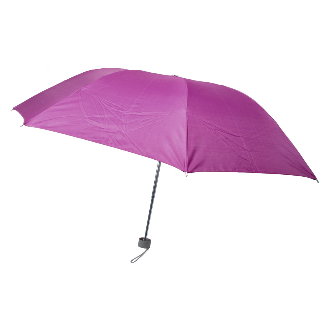 Plastic Handle 3 Sections Telescopic Tube Foldable Fuchsia Umbrella