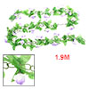 1.9M Green Plastic Leaf White Purple Rose Flower Wall Hanging Plant Vine