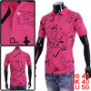Men Casual Short Sleeve Letters Pattern Fuchsia Polo Shirt M