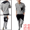 Men Pullover Long Sleeve Shirt & Slant Pockets Splice Pants Light Gray M