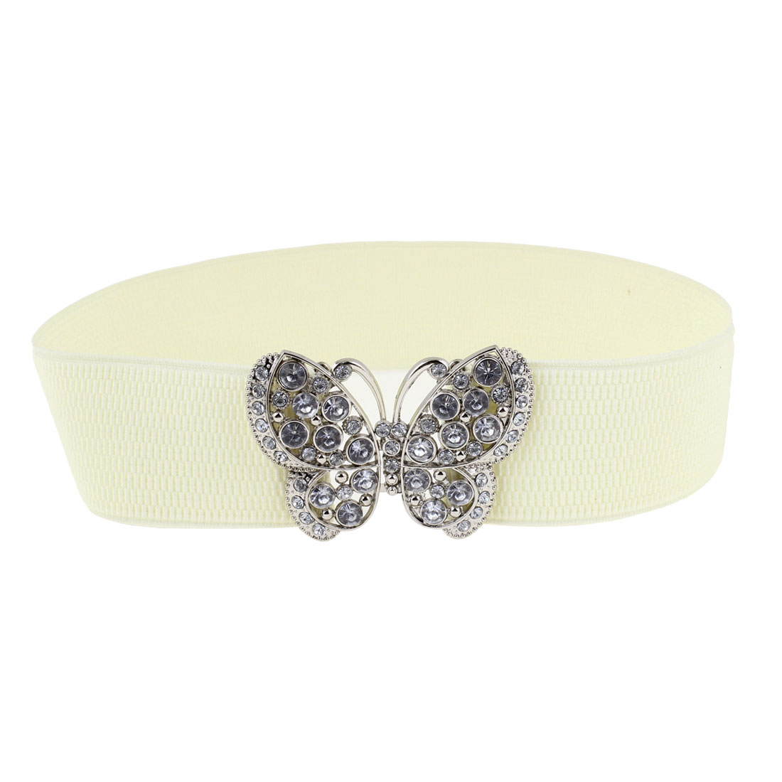 Women Interlocking Buckle Rhinestone Decor Elastic Waist Belt Beige