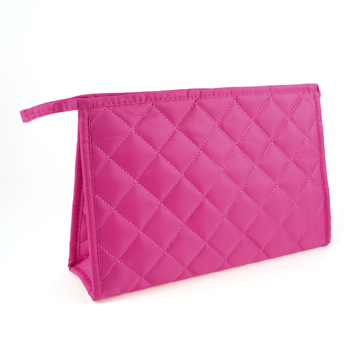 Fuchsia Nylon Stitching Grid Pattern Zip Up Mirror Cosmetic Makeup Bag for Woman