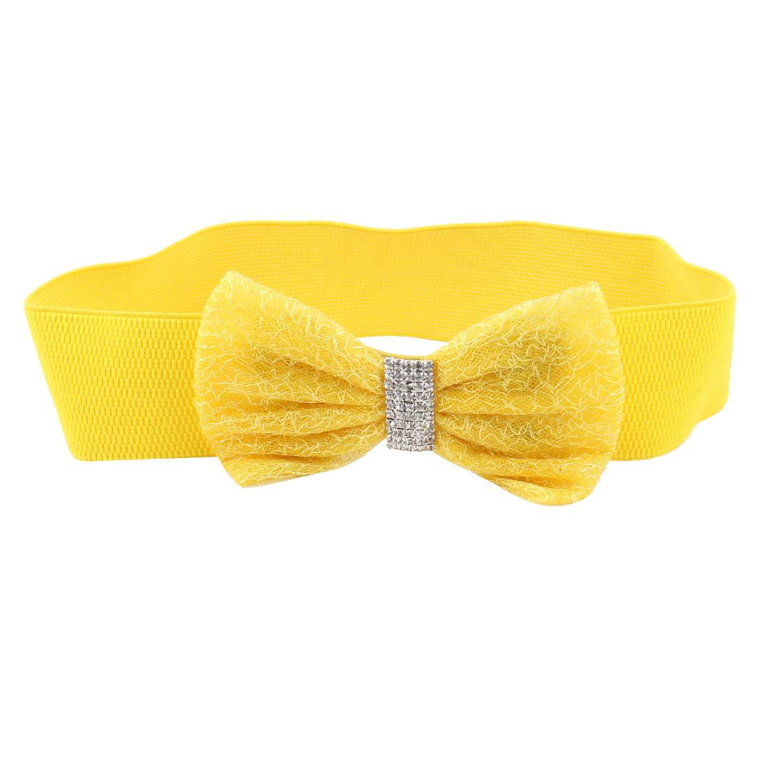 Women Press Stud Rhinestone Yellow Butterfly Knot Elastic Waist Band Belt