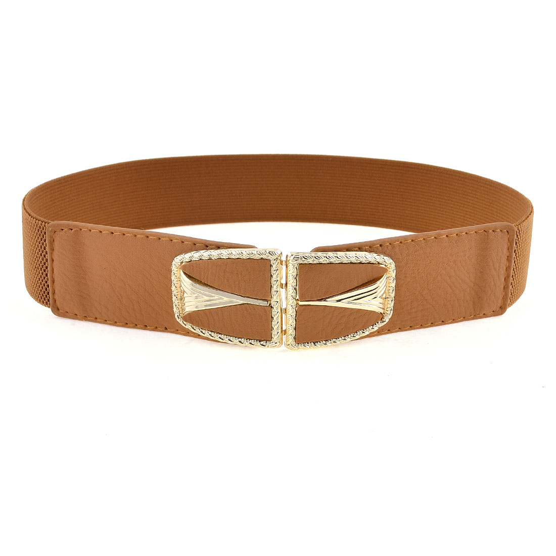Ellipse Design Metal Interlock Buckle Elastic Waist Belt Band Brown for Ladies