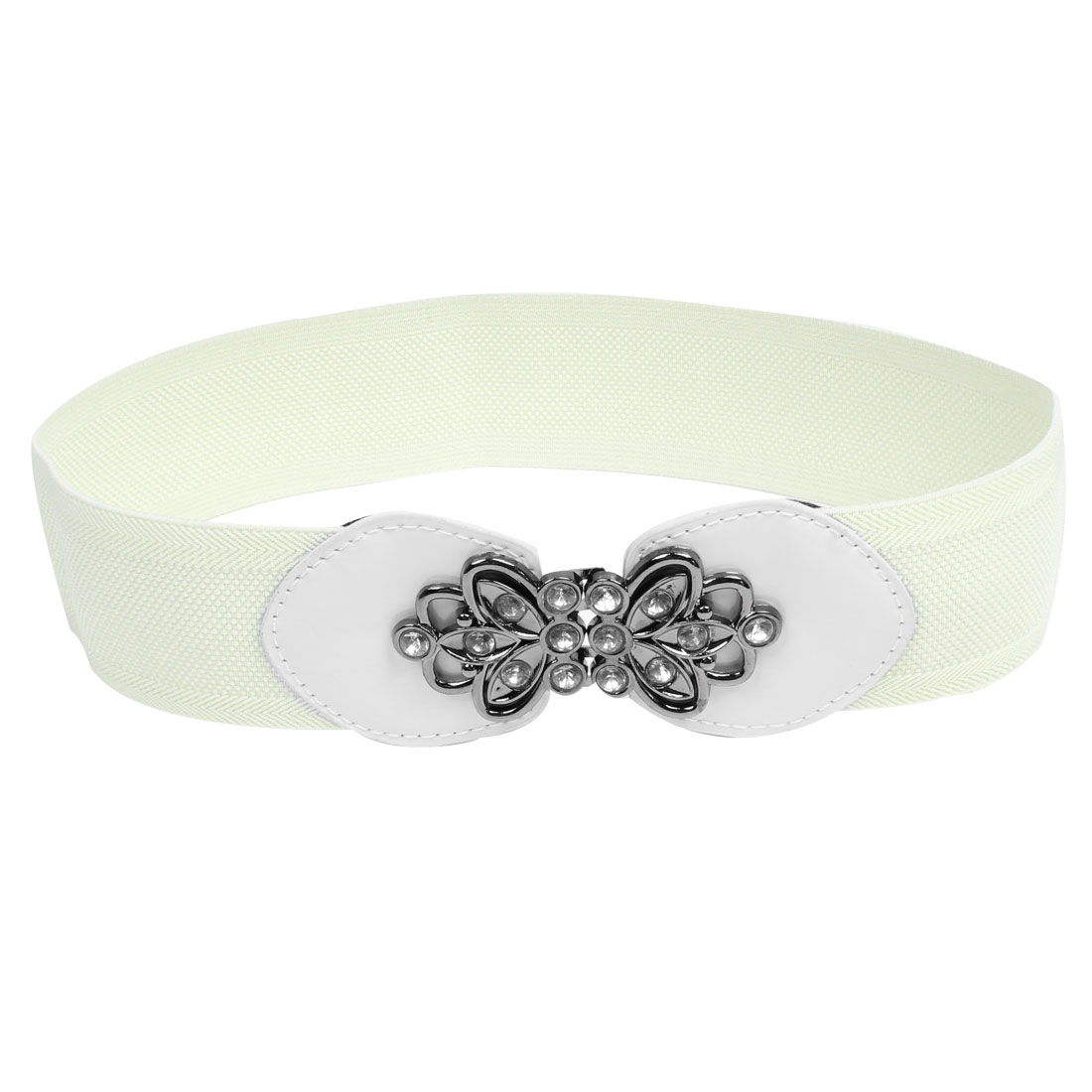 Women Lady Flower Decor Interlocking Buckle Elastic Cinch Waist Belt Off White