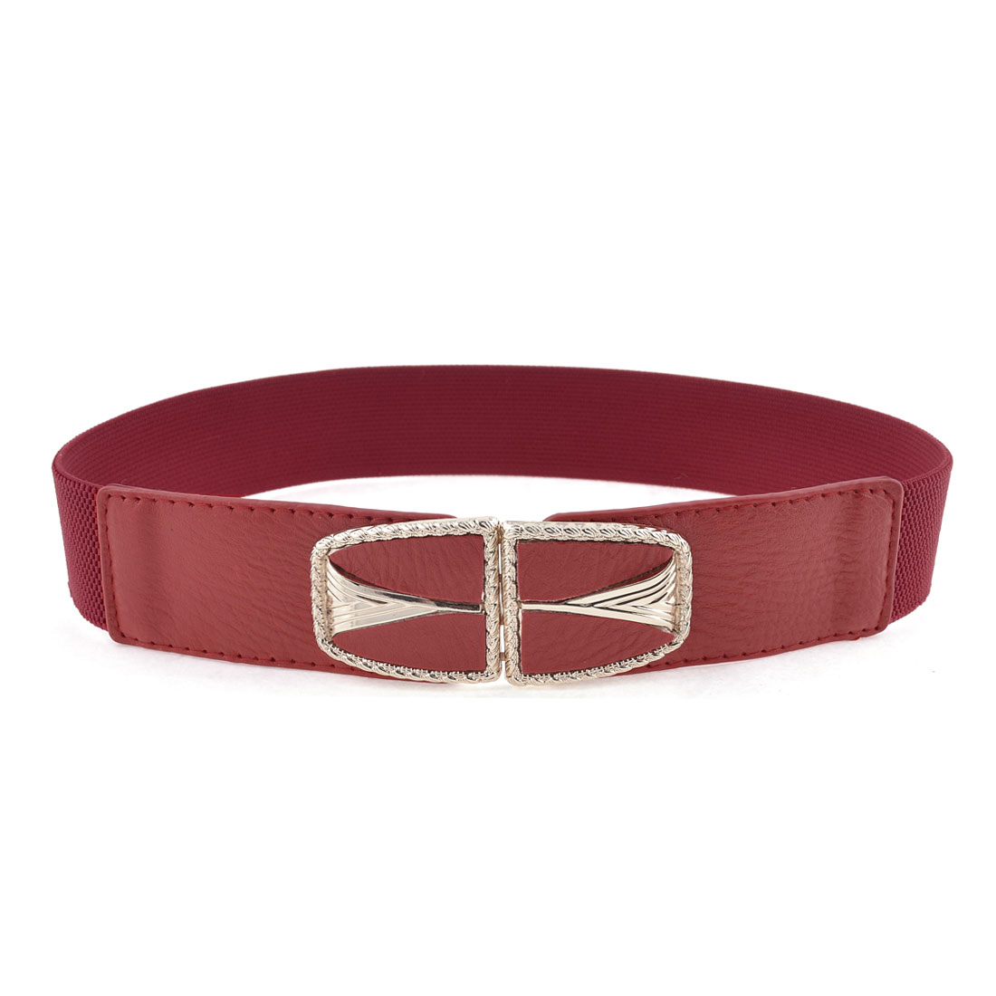 Women Litchi Faux Leather Buckle 3.7cm Width Textured Stretch Cinch Belt Red