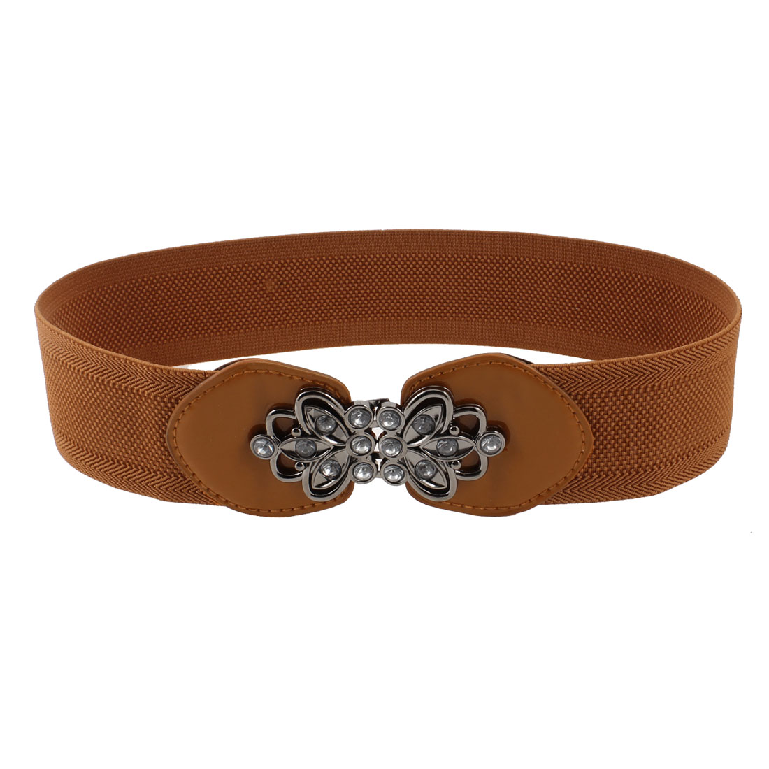 Women Faux Leather Interlocking Buckle Texture Stretchy Cinch Waist Belt Brown