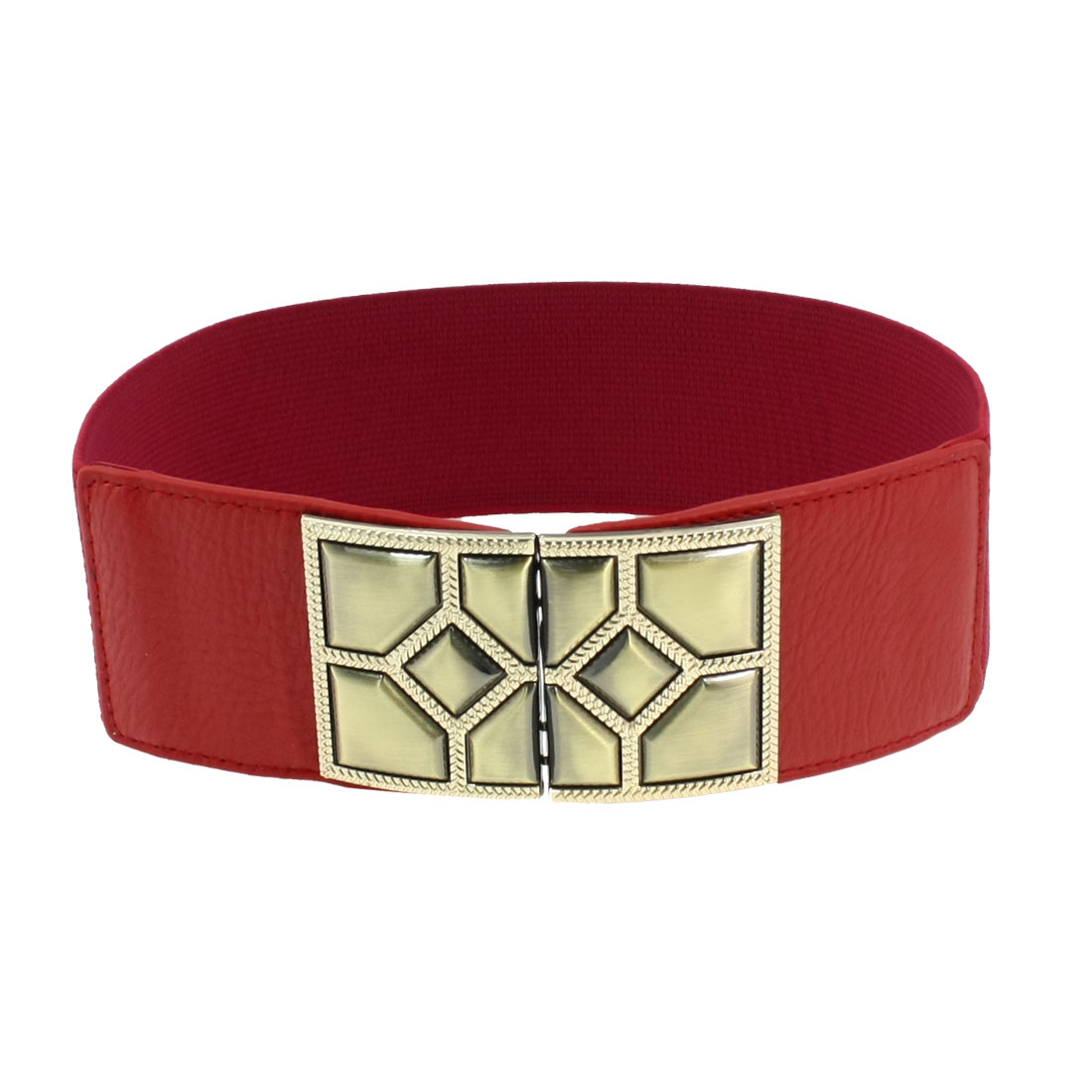 Metal Interlock Buckle Faux Leather Red Textured Elastic Belt for Woman