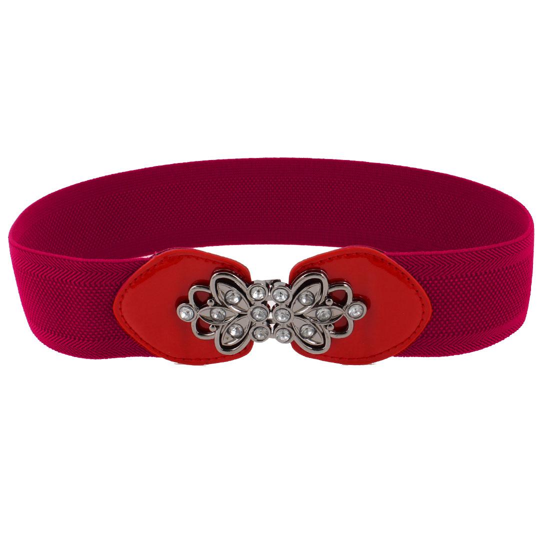 Woman Flower Decor Interlocking Buckle Texture Elastic Cinch Waist Belt Red