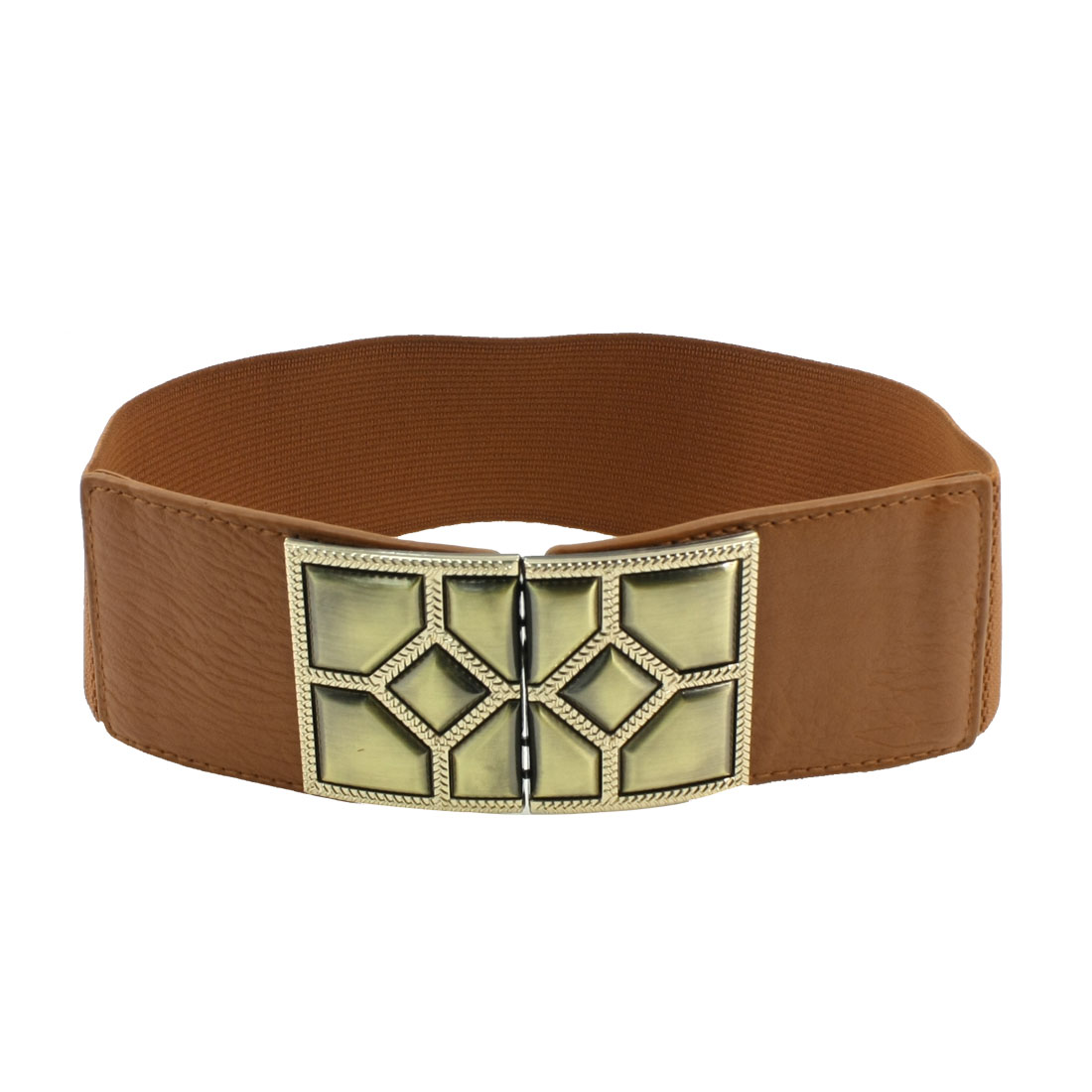 Faceted Interlocking Buckle 6cm Wide Elastic Cinch Belt Brown for Lady