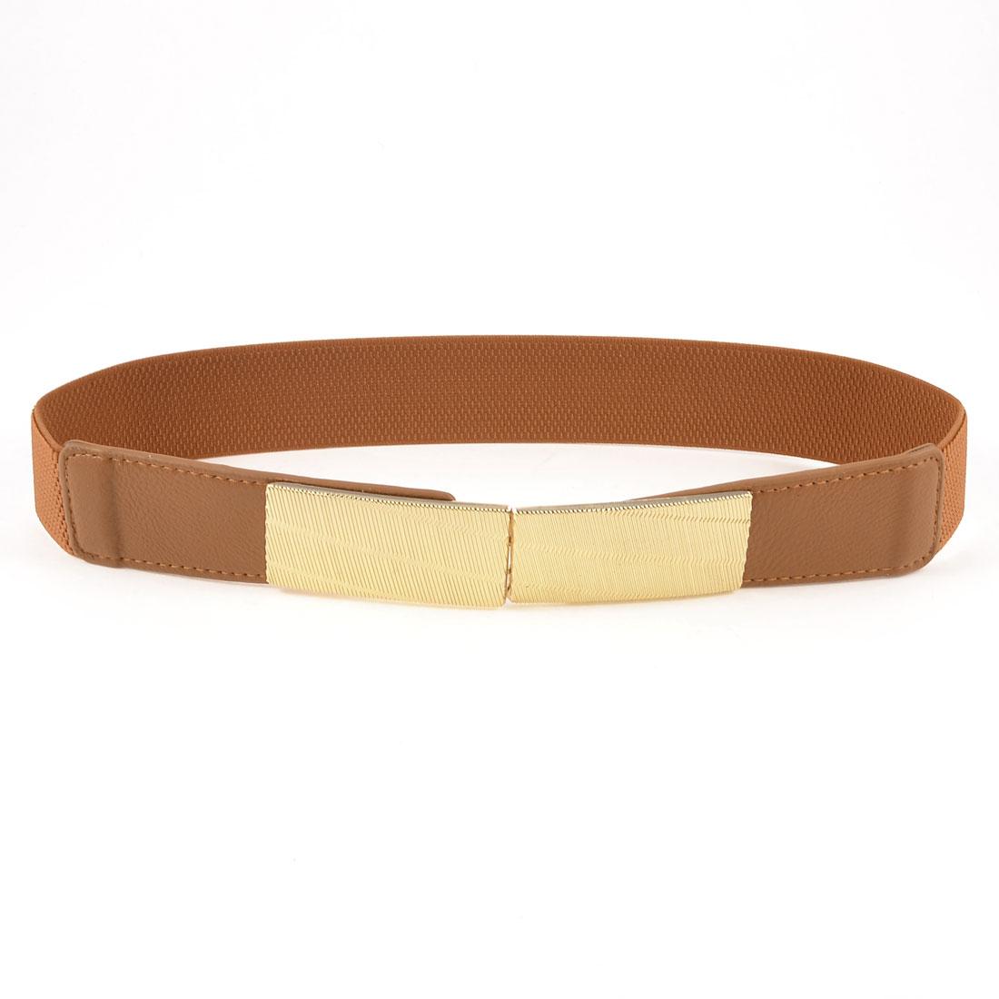 Lady Metallic Interlock Hook Buckle Stretchy Waist Band Belt Brown