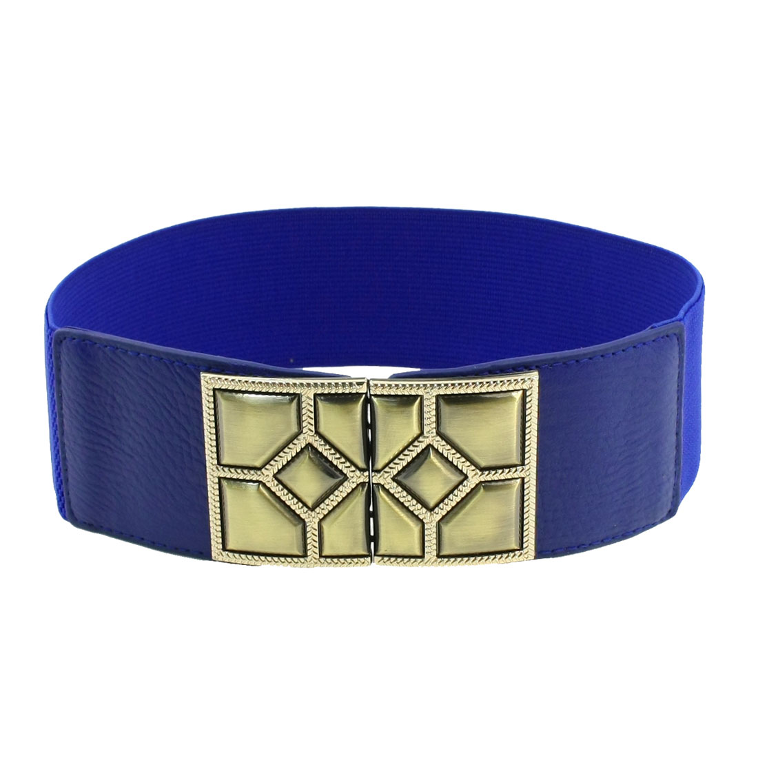 Faceted Interlocking Buckle 6cm Wide Elastic Cinch Belt Blue for Lady